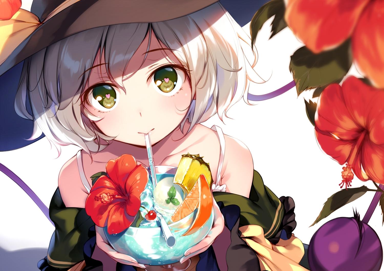 bow cherry close drink flowers food fruit gray_hair green_eyes hat ice_cream ke-ta komeiji_koishi open_shirt orange_(fruit) short_hair touhou