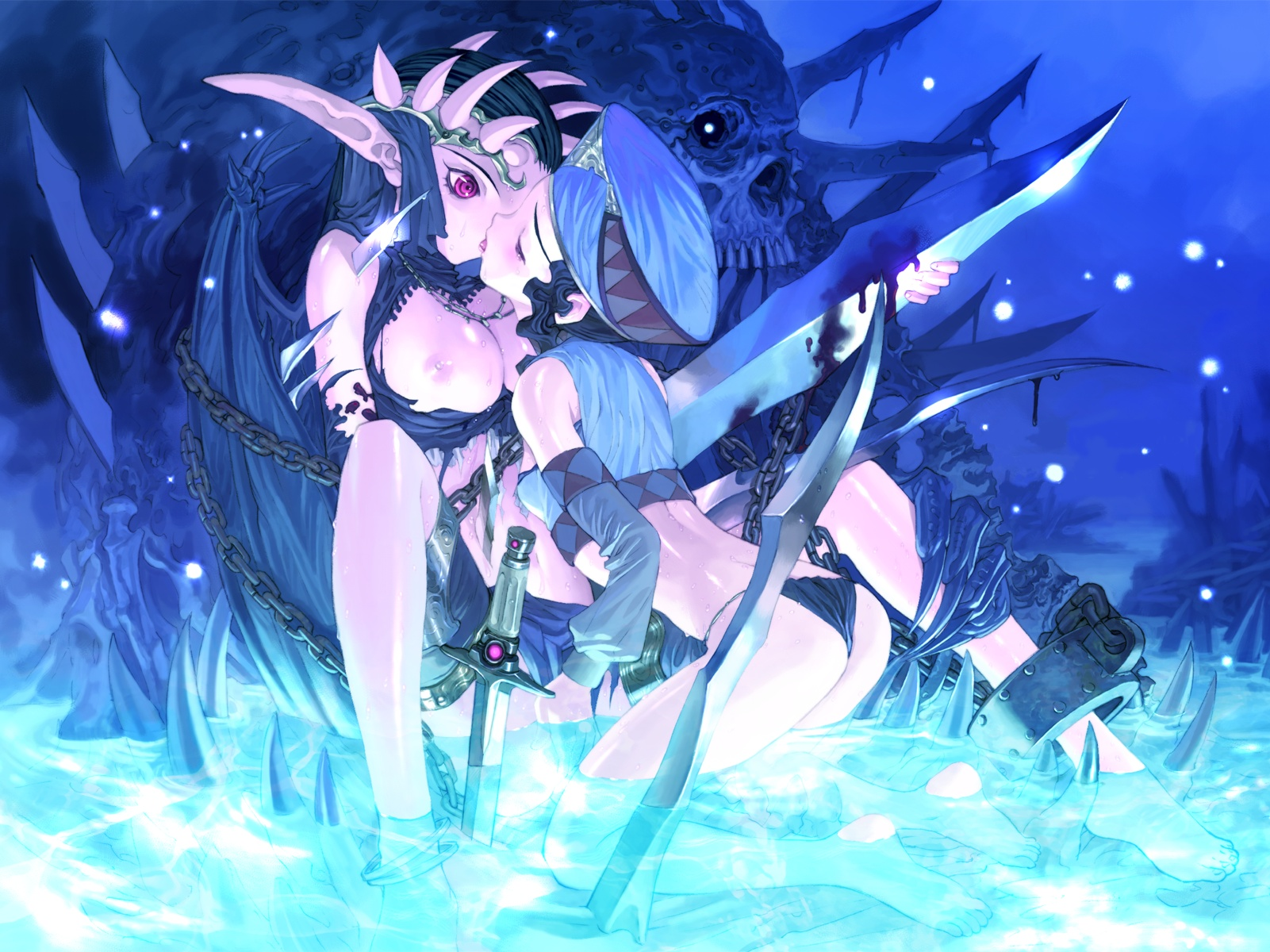 barefoot blood breasts chain devil hat horns kiss nipples sword tagme underwater water weapon wings yuri