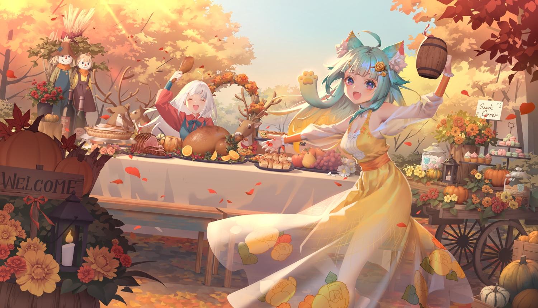 2girls animal animal_ears apple aqua_hair autumn catgirl dress flowers food fruit karesuki lanmewko leaves long_hair original pumpkin sky tagme_(character) tree white_hair