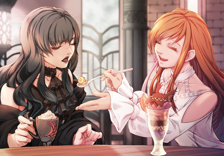 2girls black_hair dress final_fantasy final_fantasy_xiv food gaia_(ffxiv) ice_cream long_hair mihira_(tainosugatayaki) red_hair ryne