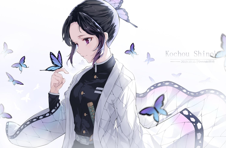 black_hair butterfly japanese_clothes katana kimetsu_no_yaiba kochou_shinobu purple_eyes short_hair snozaki sword uniform watermark weapon white