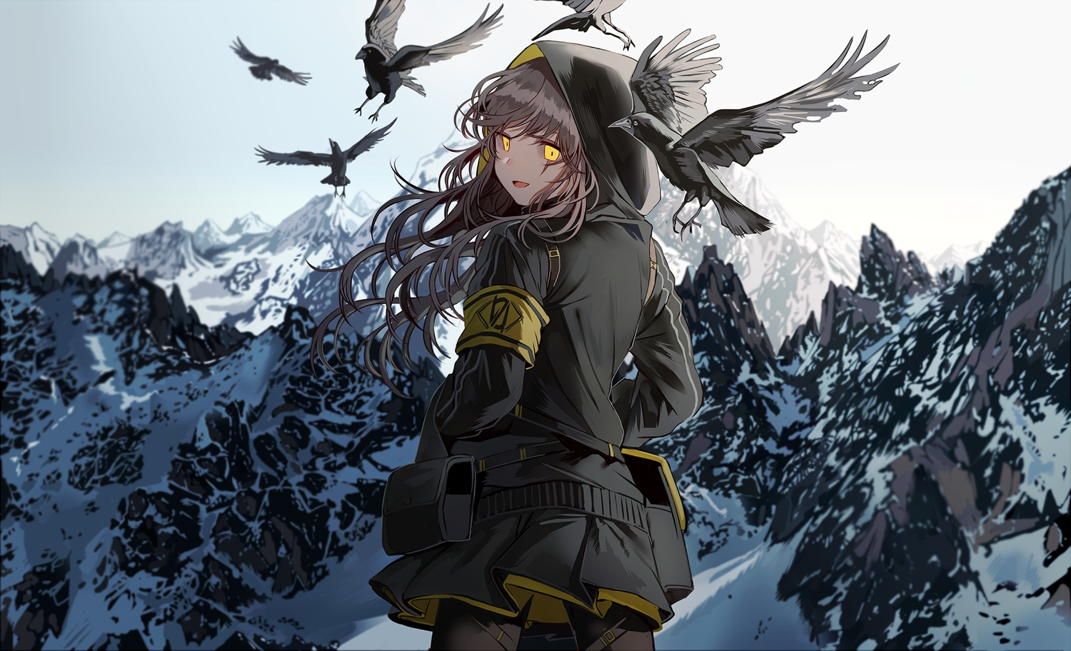 animal anthropomorphism bird brown_hair girls_frontline hoodie long_hair pantyhose scar scenic silence_girl skirt sky ump-45_(girls_frontline) waifu2x yellow_eyes