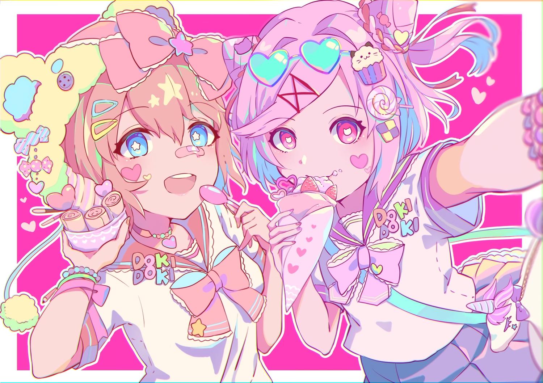 2girls aqua_eyes bandaid bow doki_doki_literature_club! food fruit hat ice_cream iroha_(illust_moist) natsuki_(ddlc) pink_eyes pink_hair sayori_(ddlc) school_uniform short_hair strawberry wristwear
