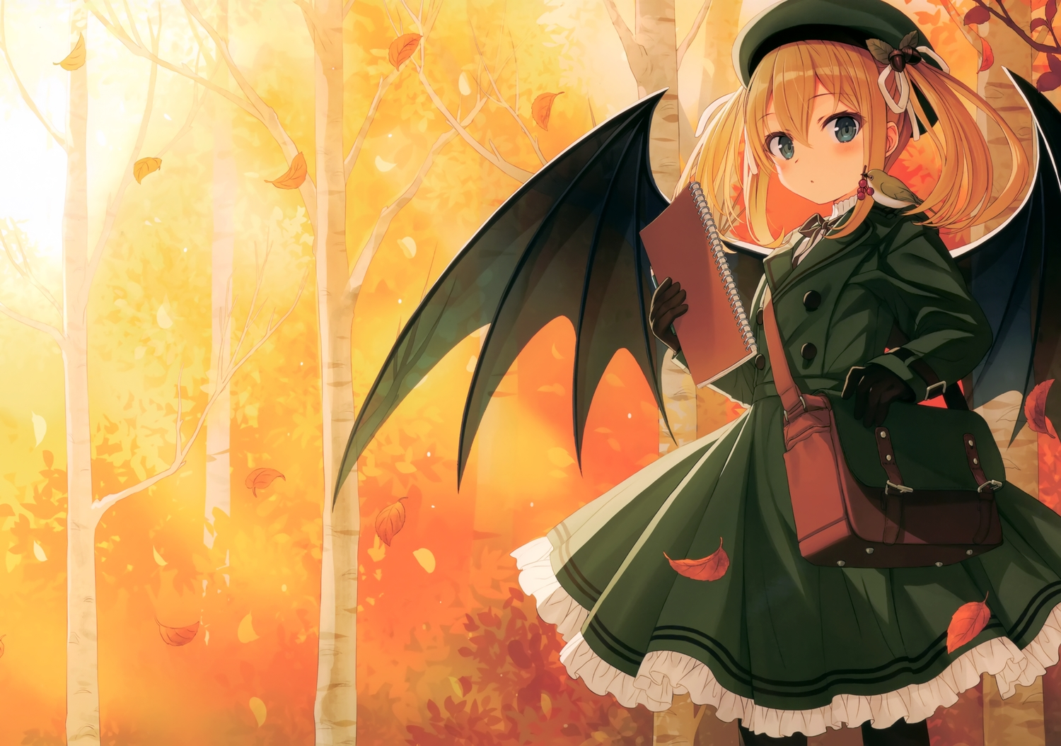 animal autumn bird green_eyes hat orange_hair original pantyhose scan short_hair twintails wings yashiro_seika