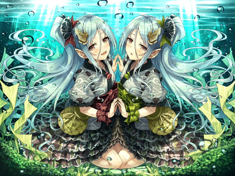 2girls hasumi_(hasubatake39) lolita_fashion long_hair original pointed_ears twins underwater water
