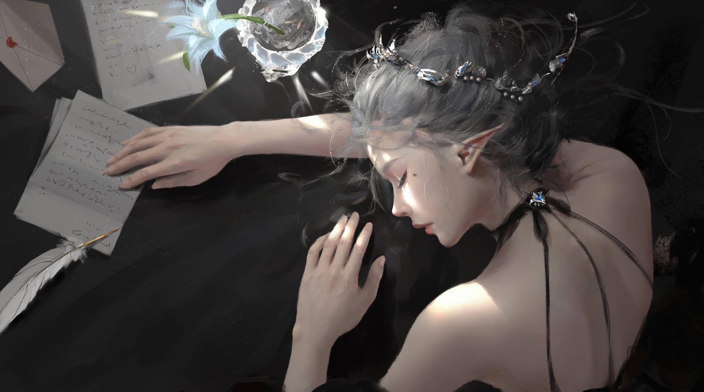 feathers flowers ghostblade gray_hair headdress paper pointed_ears princess_yan sleeping wlop