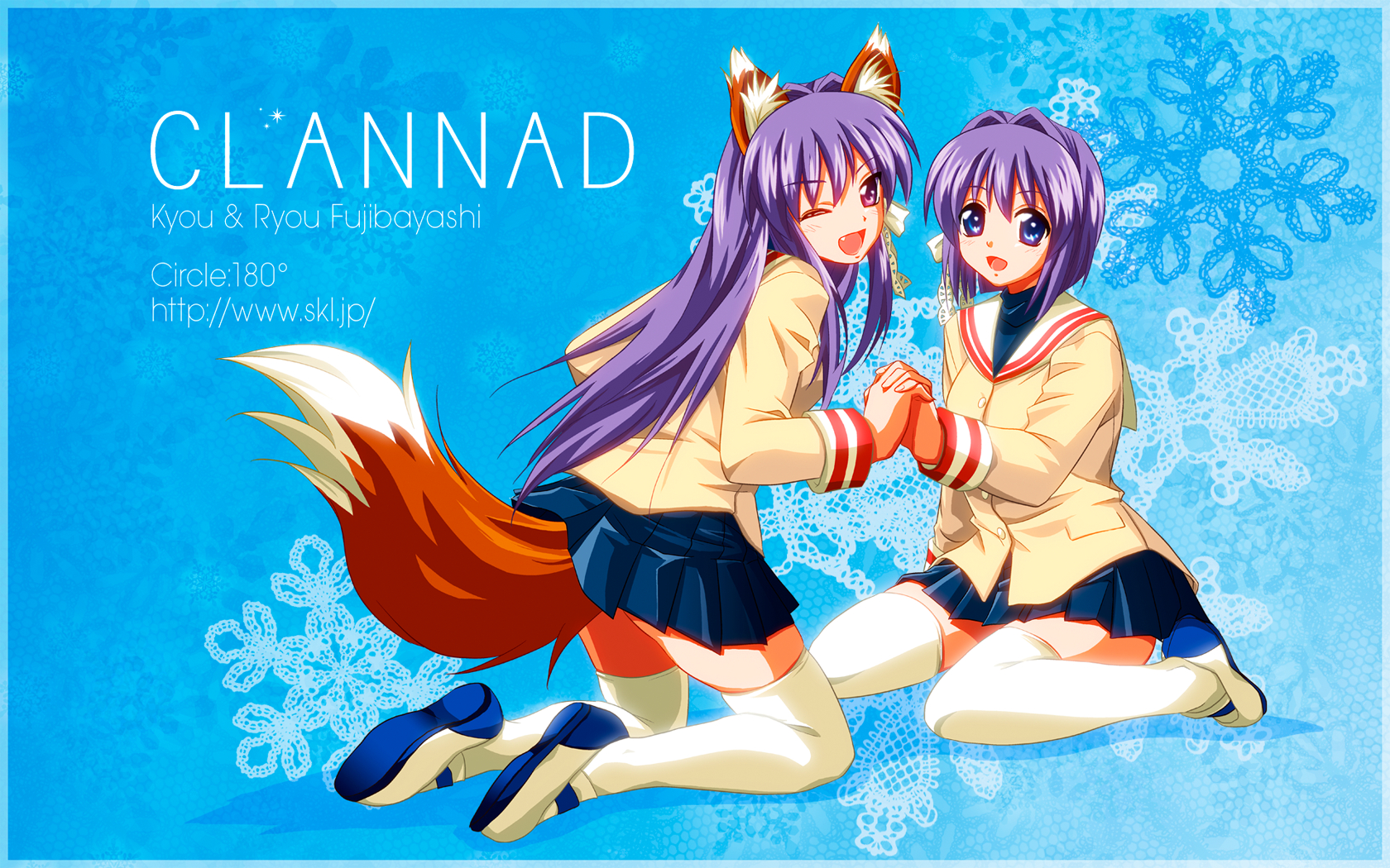 2girls animal_ears blue clannad fujibayashi_kyou fujibayashi_ryou naka_noboru purple_hair school_uniform tail twins wink