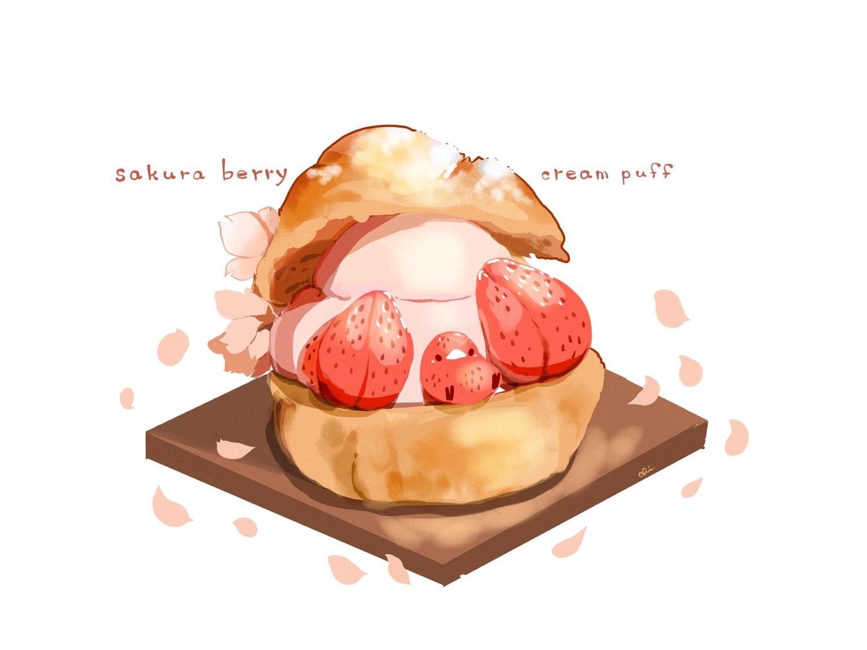 animal bird chai_(artist) cherry_blossoms flowers food fruit nobody original petals polychromatic signed strawberry white