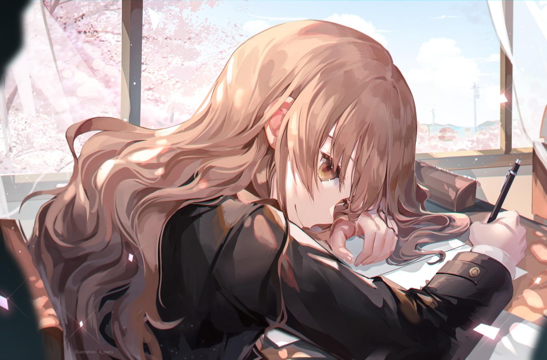brown_eyes brown_hair close clouds long_hair original paper school_uniform sky tree unity_(ekvmsp02)