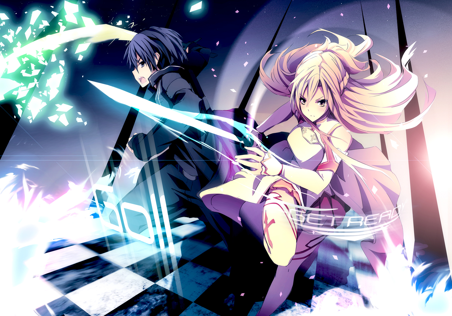 black_eyes black_hair blonde_hair gloves kirigaya_kazuto long_hair merontomari short_hair sword sword_art_online weapon yellow_eyes yuuki_asuna