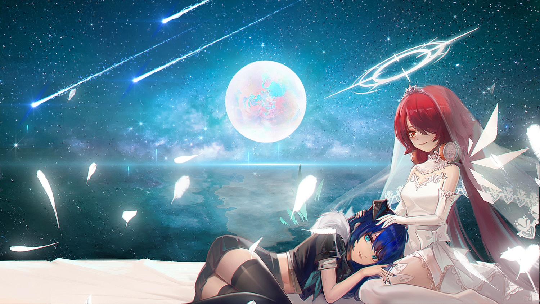2girls arknights exusiai_(arknights) halo headdress moon mostima_(arknights) reflection shoujo_ai water wedding_attire wings yizhibao zettai_ryouiki
