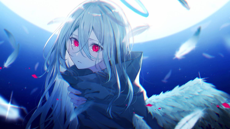 close crying feathers halo long_hair moon necojishi night original polychromatic red_eyes tears white_hair wings