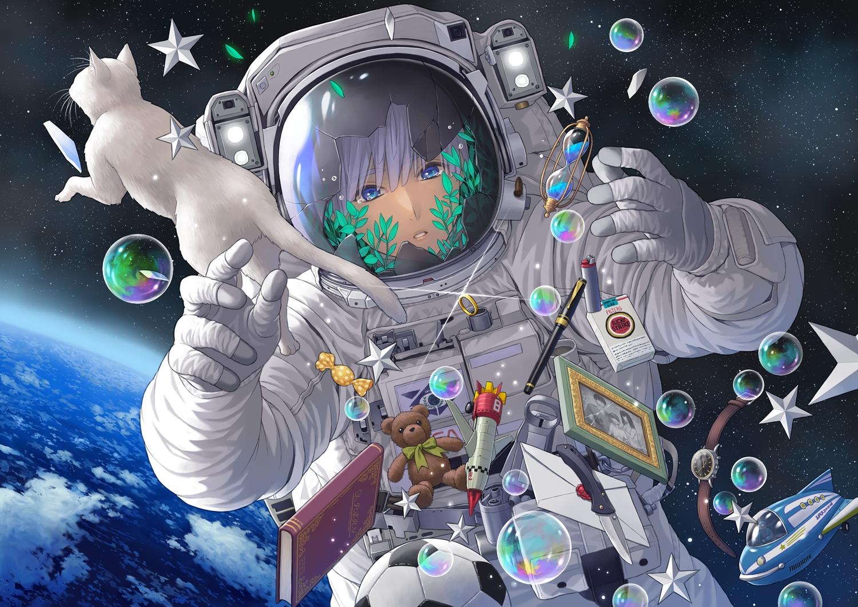 ball blue_eyes book bubbles clouds earth knife minami_(minami373916) original planet purple_hair space stars tears