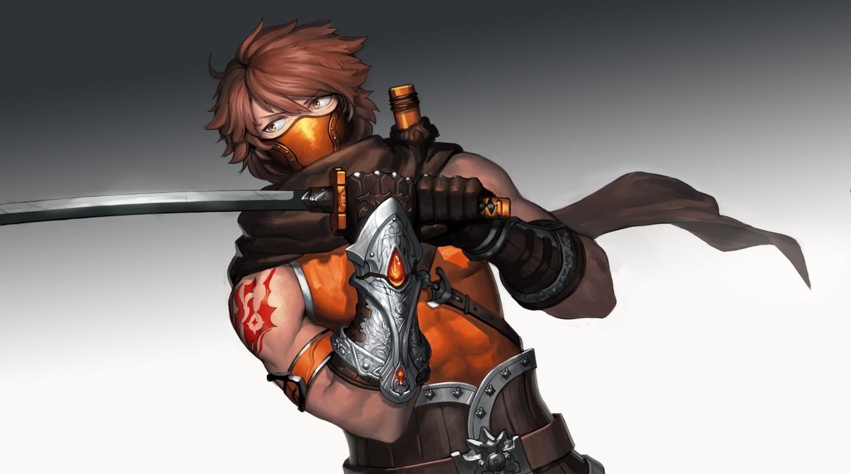all_male armor brown_hair cain_(gunnermul) gloves gradient katana male mask ninja original scarf short_hair sword tattoo weapon yellow_eyes