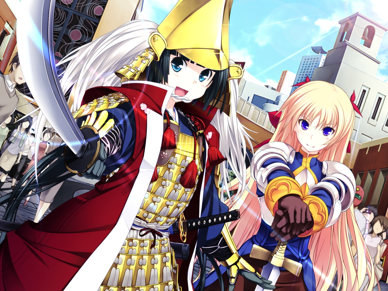 armor black_hair blonde_hair christiane_friedrich game_cg kawagishi_keitarou maji_de_watashi_ni_koi_shinasai! mayuzumi_yukie minato_soft sword weapon
