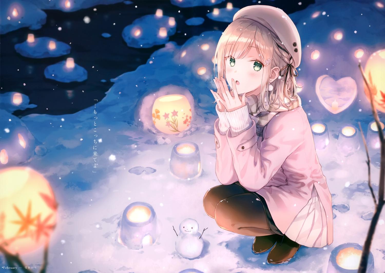 blush green_eyes hat hiten_goane_ryu original scan snow snowman translation_request winter