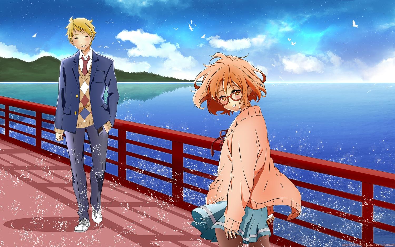 blonde_hair brown_eyes clouds glasses kanbara_akihito kuriyama_mirai kuzakawe_maron kyoukai_no_kanata male scenic school_uniform water