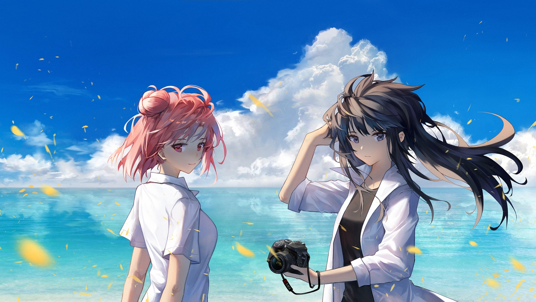 2girls blue_eyes brown_hair camera clouds long_hair pink_hair red_eyes shirt sky water yahari_ore_no_seishun_love_come_wa_machigatteiru. yuigahama_yui yukinoshita_yukino yuuki_mix