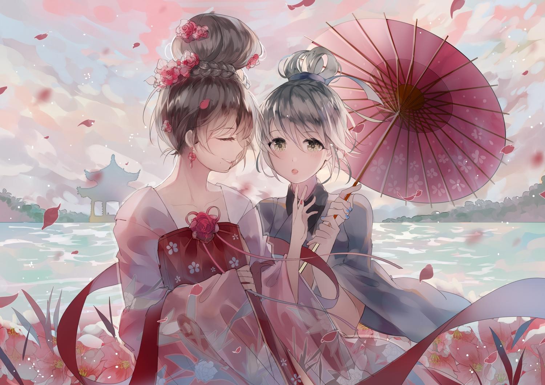 2girls brown_hair flowers green_eyes japanese_clothes kimono luo_tianyi petals short_hair umbrella vocaloid vocaloid_china weitu white_hair yuezheng_ling