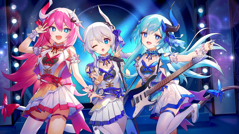 ainy77 aqua_hair blue_eyes garter guitar honkai_impact horns instrument liliya_olenyeva long_hair microphone pink_hair rozaliya_olenyeva tail theresa_apocalypse thighhighs white_hair wink