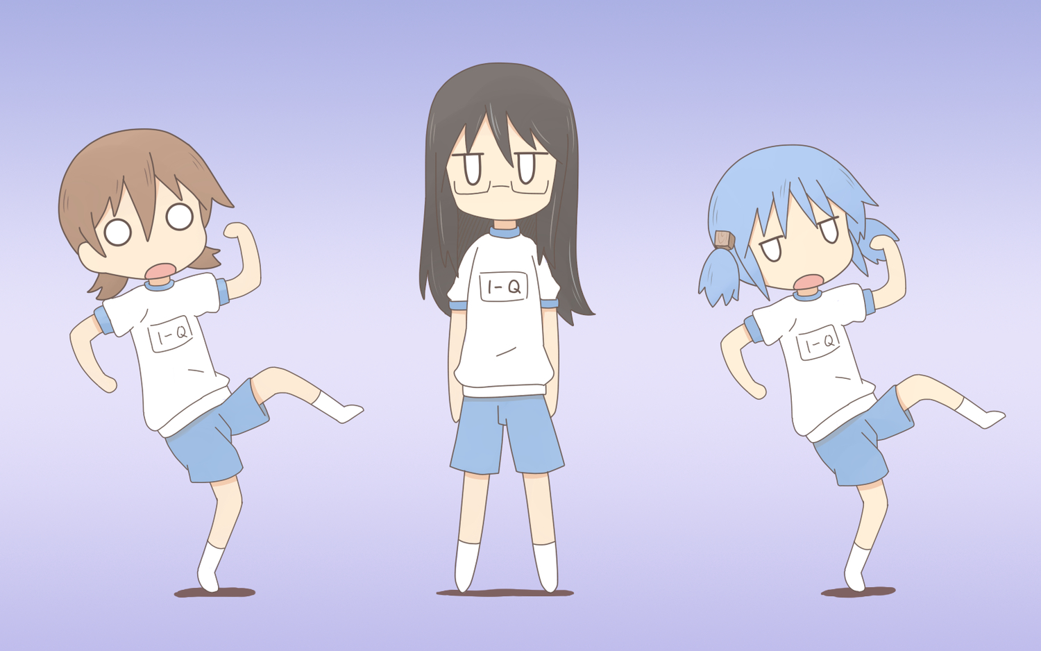 3girls aioi_yuuko blue_hair brown_hair chibi glasses kill_me_baby minakami_mai naganohara_mio nichijou parody twintails