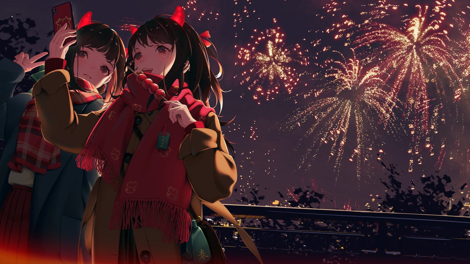 2girls aliasing black_hair brown_eyes camera candy fang fireworks food fruit horns night original phone scarf zhuang_yao