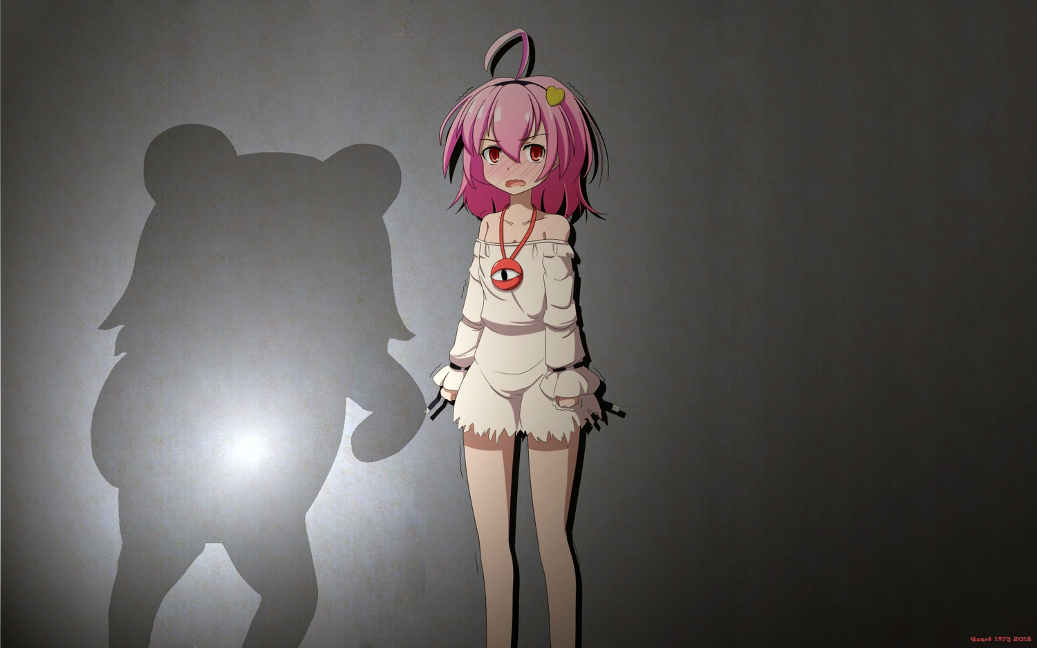 blush cato_(monocatienus) komeiji_satori loli pedobear pink_hair red_eyes short_hair silhouette third-party_edit touhou