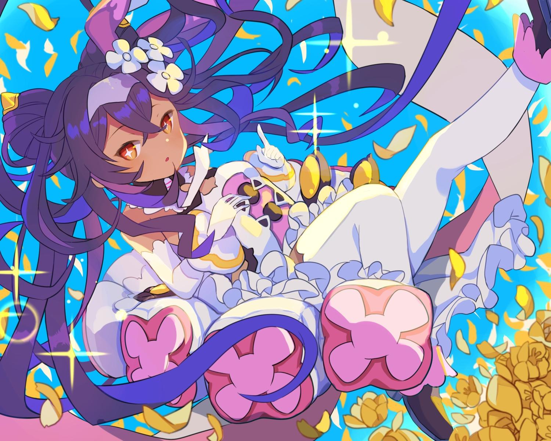 cropped dark_skin dress flowers gloves headband loli long_hair neftim orange_eyes petals purple_hair thighhighs umika35 world_flipper