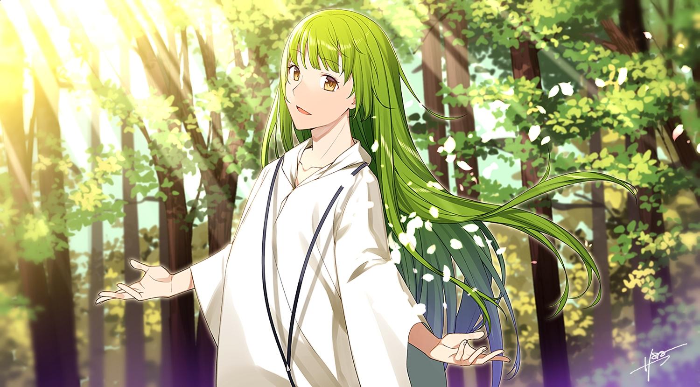 all_male enkidu fate/grand_order fate_(series) green_hair long_hair male petals sahuyaiya tree waifu2x yellow_eyes