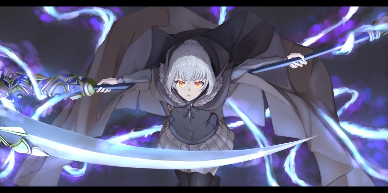 fate_(series) gray_hair gray_(lord_el-melloi_ii) lord_el-melloi_ii_case_files orange_eyes piisu scythe thighhighs weapon