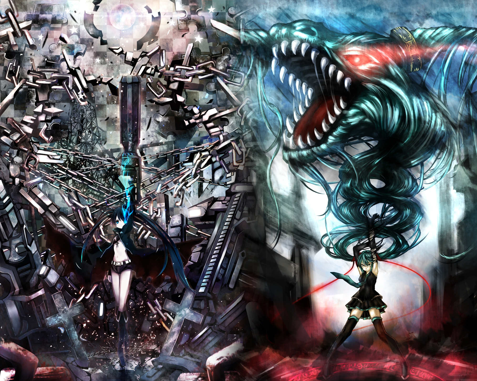 bayonetta black_rock_shooter chain crossover dragon gun hatsune_miku kuroi_mato scar shino_(eefy) twintails vocaloid weapon