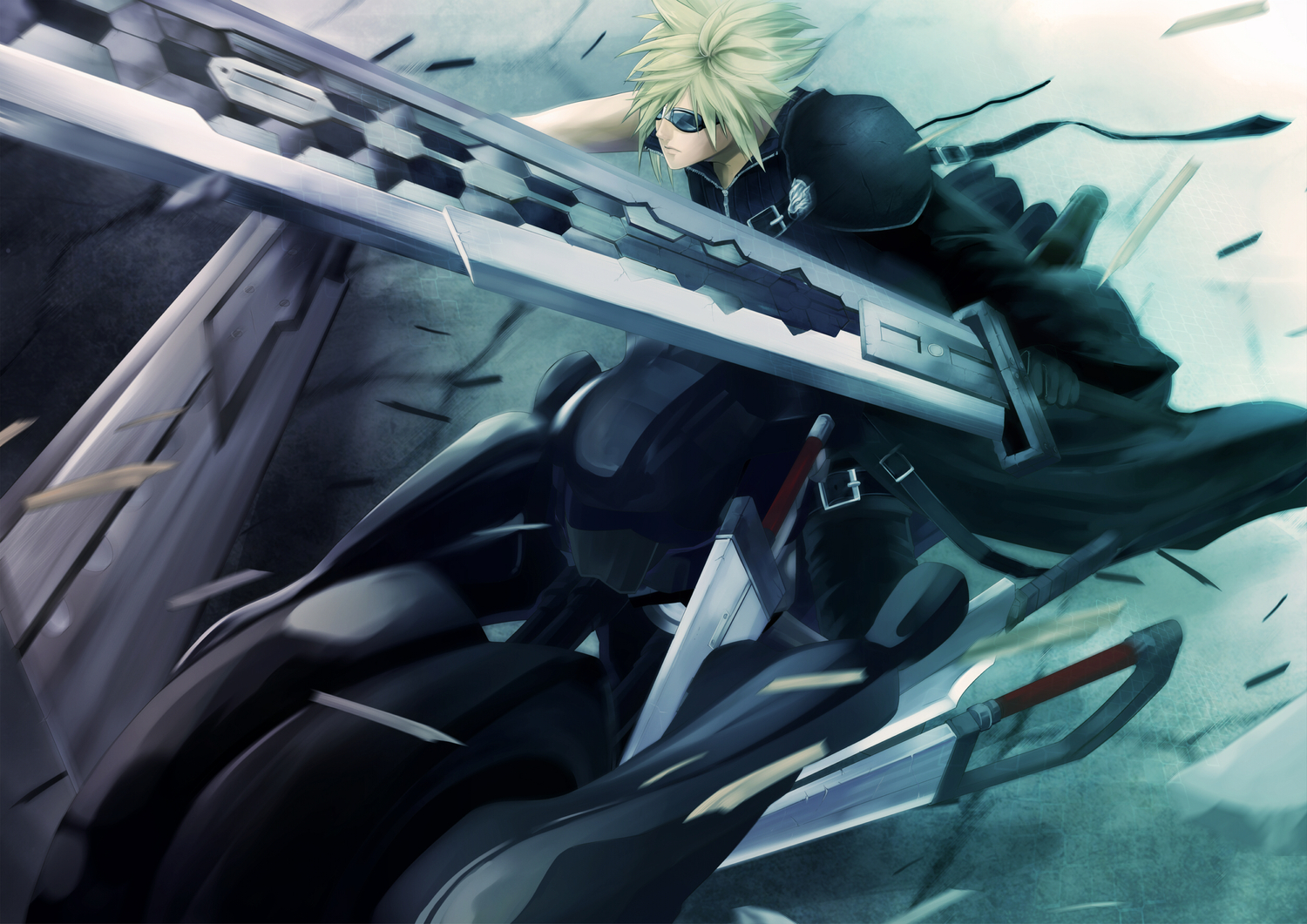 all_male blonde_hair cloud_strife final_fantasy final_fantasy_vii final_fantasy_vii_advent_children male motorcycle pochiharu sunglasses sword weapon