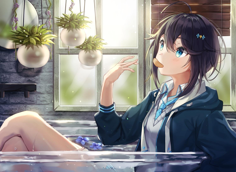 aqua_eyes bath bathtub black_hair blush flowers hoodie kaon_(kaon_ll) nijisanji school_uniform short_hair sorahoshi_kirame tie water