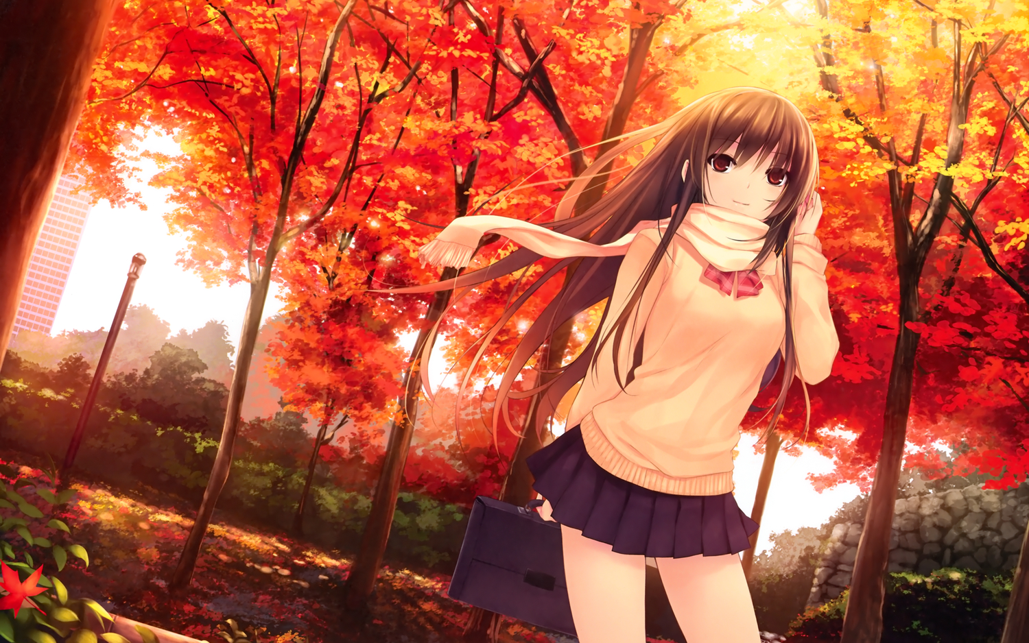 autumn brown_eyes brown_hair coffee-kizoku leaves long_hair original saki scan scarf seifuku tree