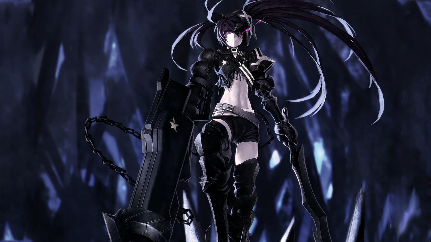 black_hair black_rock_shooter gun insane_black_rock_shooter kuroi_mato long_hair shorts sword weapon