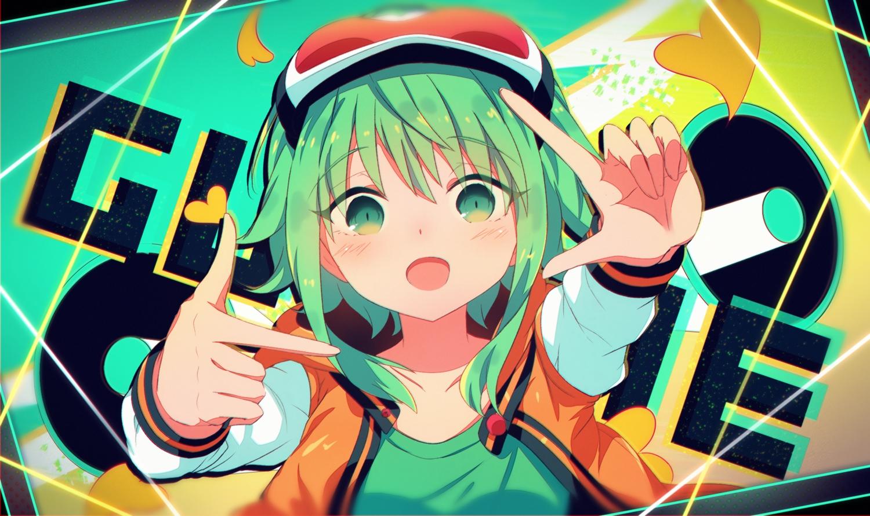 goggles green_eyes green_hair gumi sakakidani vocaloid