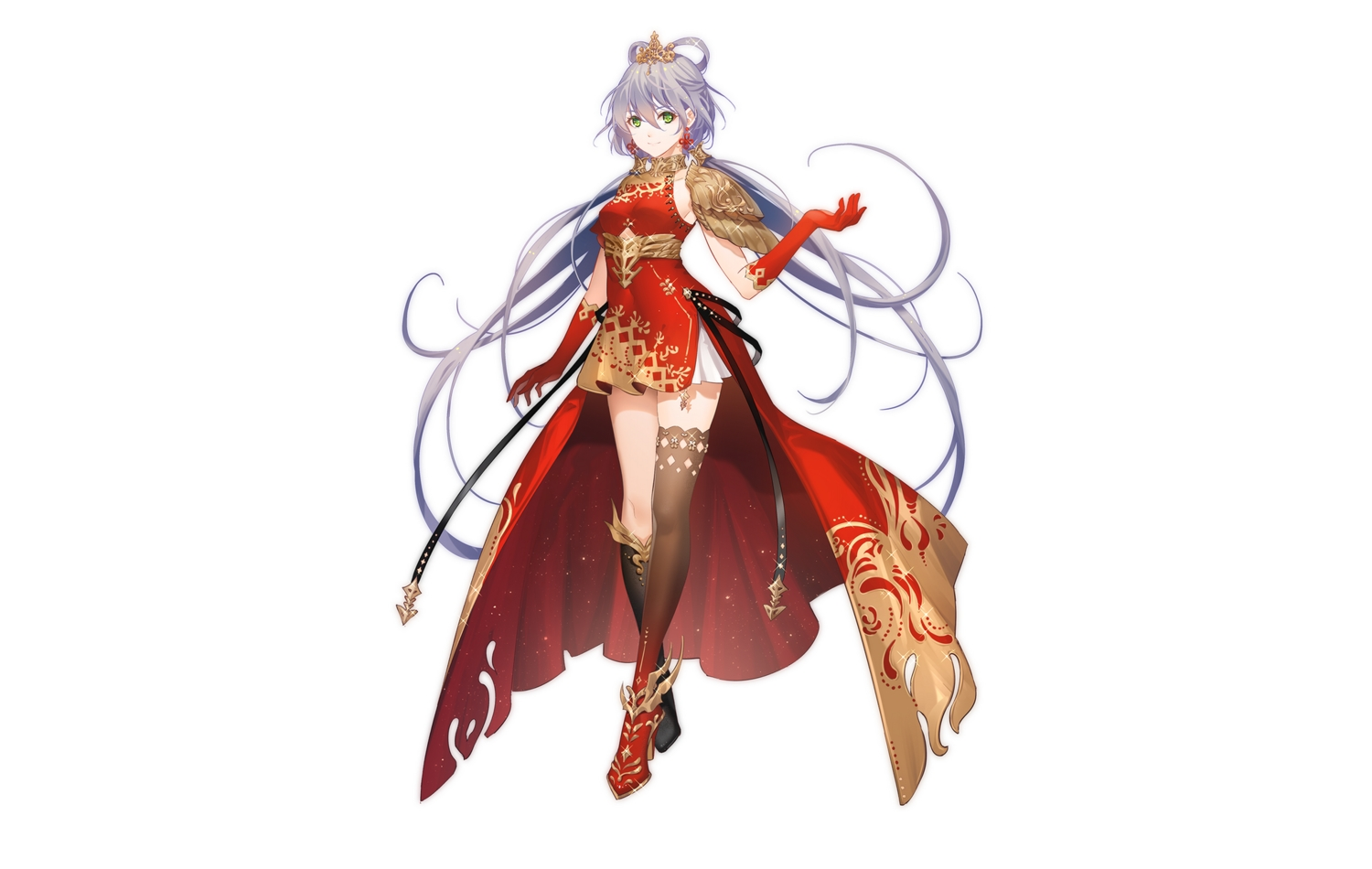 armor boots chinese_clothes chinese_dress dress elbow_gloves gloves green_eyes headdress long_hair luo_tianyi purple_hair thighhighs tidsean twintails vocaloid vocaloid_china white