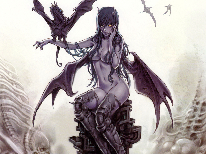 Demon drawing girl nude adult photo
