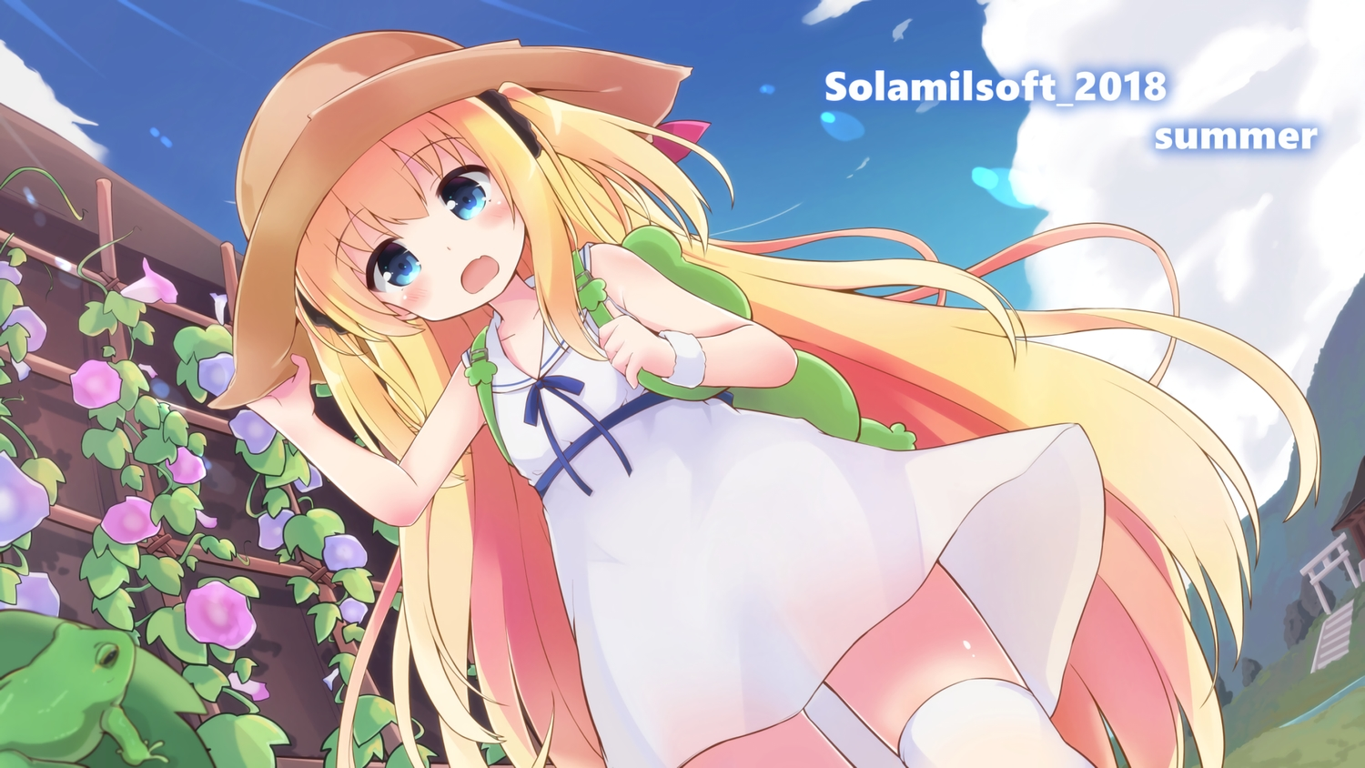 animal aqua_eyes blonde_hair blush dress fang flowers frog hat loli long_hair original solar_milk summer summer_dress thighhighs torii twintails waifu2x wristwear