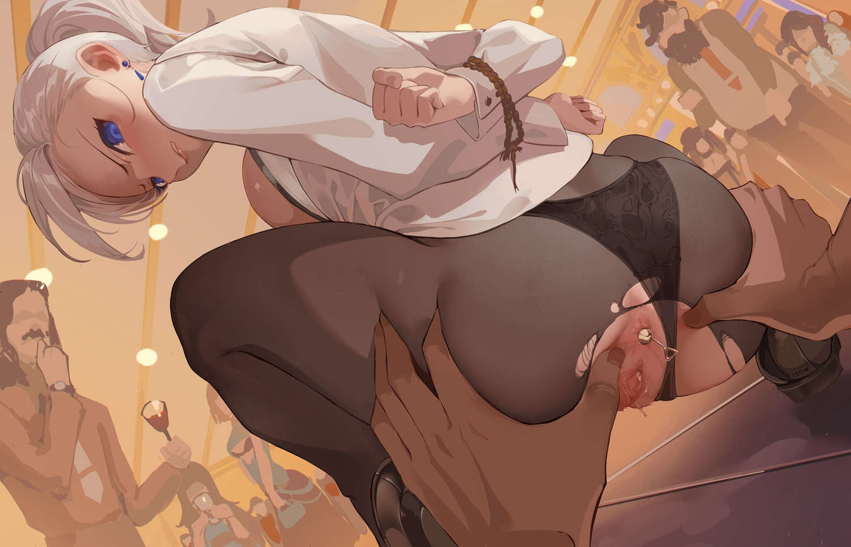 100wang anal anus ass ass_grab bondage pantyhose ponytail pussy rope rwby shirt torn_clothes uncensored winter_schnee
