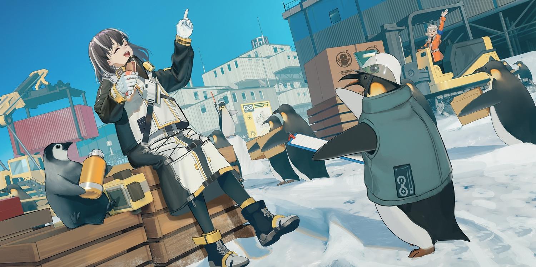 animal arknights codec007 magallan_(arknights) mayer_(arknights) penguin sky