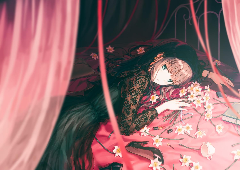 aqua_eyes bed book brown_hair dress flowers green_eyes hiten_goane_ryu lolita_fashion long_hair original