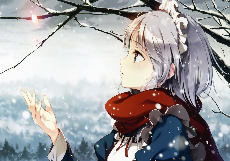 apron close gray_hair headdress izayoi_sakuya ke-ta maid petals scan scarf snow touhou