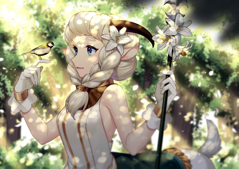 afk_arena animal animal_ears bird blue_eyes flowers forest gloves green horns jenevan nemora_(afk_arena) spear tree weapon white_hair