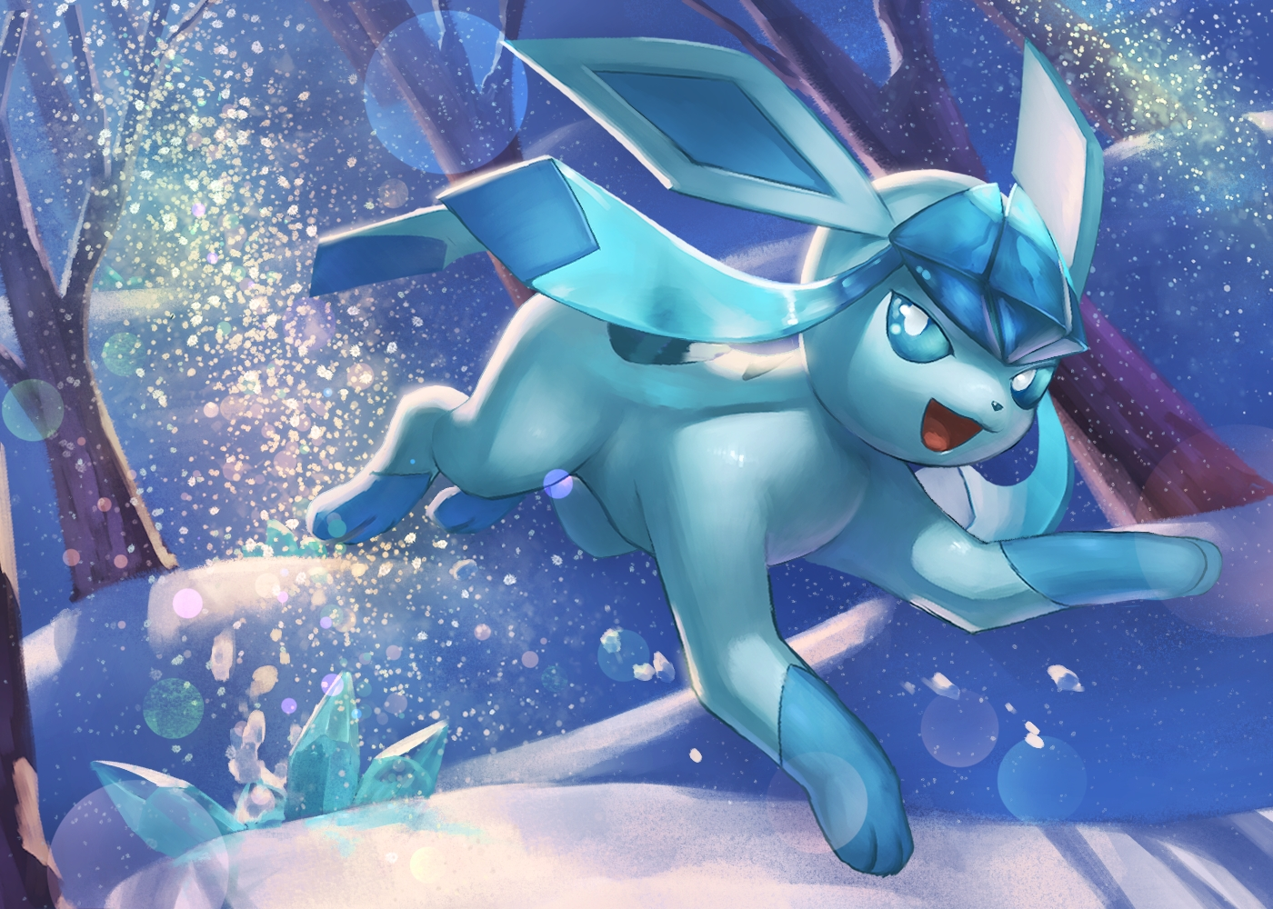 forest glaceon night nobody pokemon snow spareribs tree