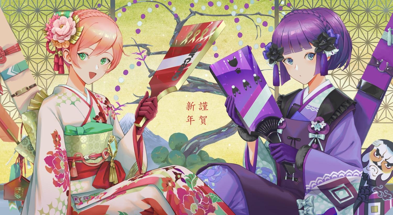 2girls anthropomorphism carcano_m1891_(girls_frontline) carcano_m91/38_(girls_frontline) girls_frontline japanese_clothes kimono makkuro short_hair