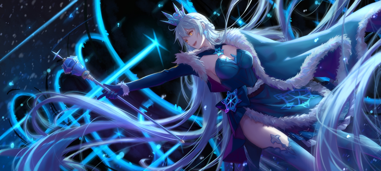 braids breasts cape cleavage crown dress gloves honkai_impact kiana_kaslana long_hair magic orange_eyes staff thighhighs white_hair xing_muhen