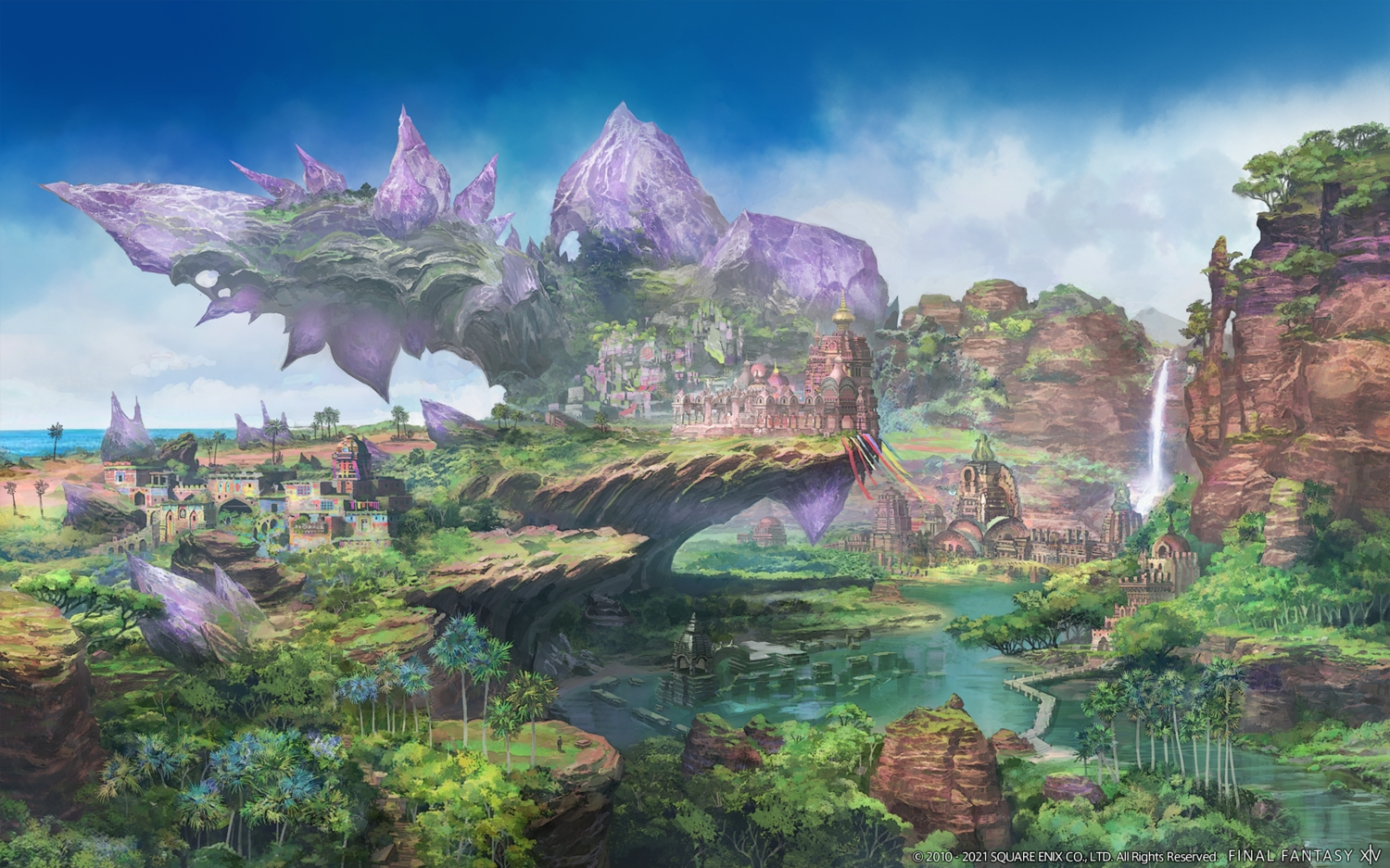 building final_fantasy final_fantasy_xiv forest landscape nobody scenic square_enix tree water waterfall watermark