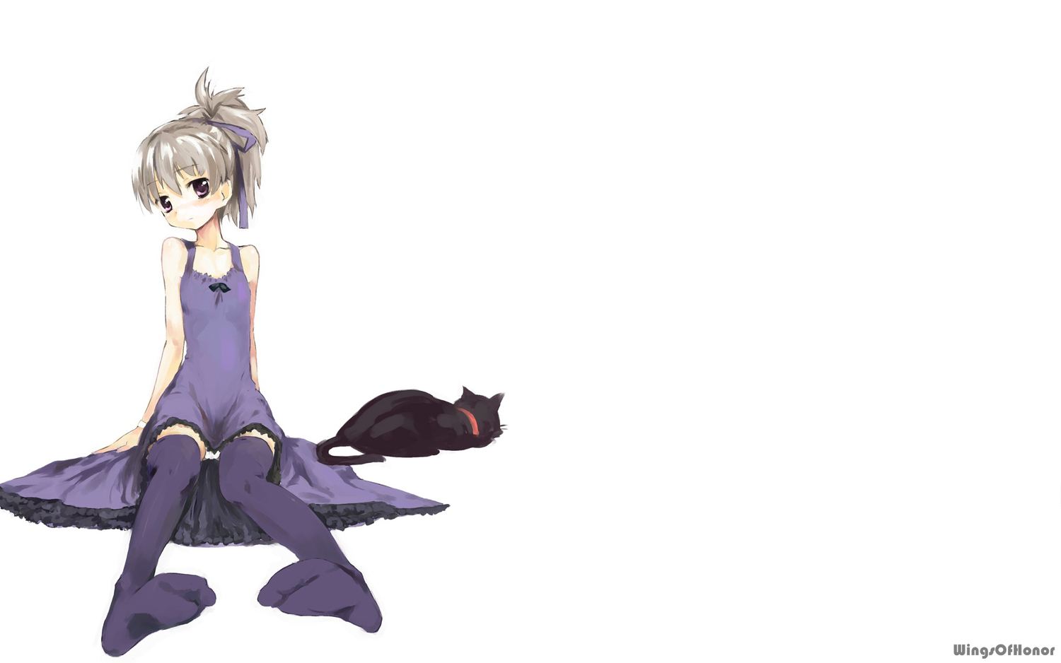 animal cat darker_than_black dress gray_hair mao_(darker_than_black) purple_eyes underwear white yin