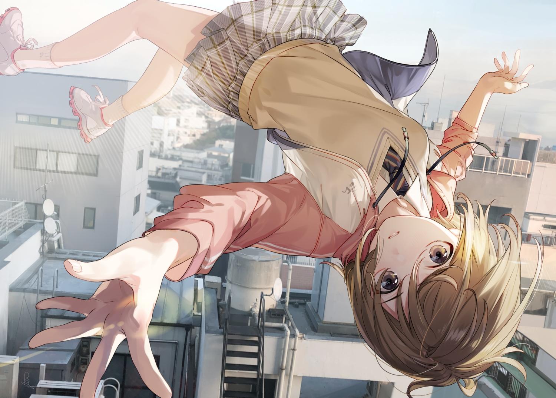 al_mican brown_hair building city hoodie original school_uniform short_hair signed skirt